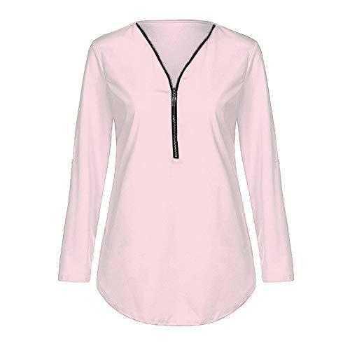 Rose Shirt V clair Lache Shirt Chemises Col Clair en Xinantime T Tops Femmes Casual Top Blouse Tee Femmes Dames Tops Fermeture HqY7xnv