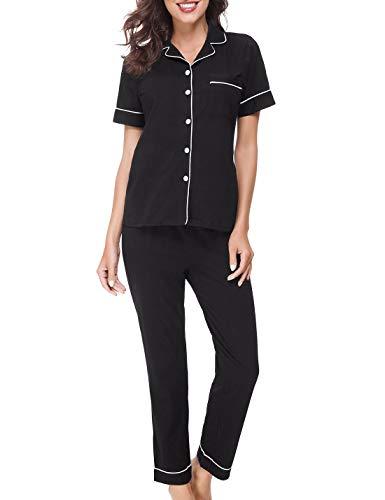 RIKILIO Women's Cotton Sleepwear Short Sleeves Pajama Set with Pants Loungewear(Black,M) Black Short Sleeve Pajamas