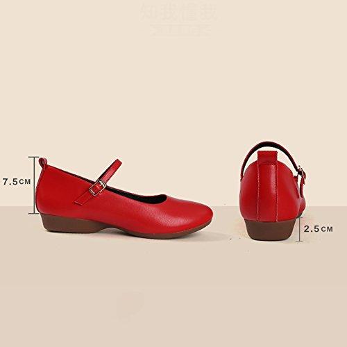 bassi Rosso tacco 5 ballo piatto e Da superficiale moda cm autunno 2 Fondo donna Bocca di da Primavera 2 colori Tacchi Scarpe Altezza morbido scarpette LIXIONG axqUnw4vU