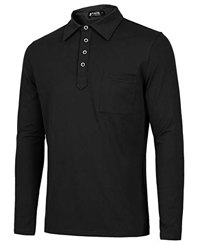 Musen Men Long Sleeve Polo Shirts Cotton Polos for Sport Shirts with Chest Pocket Black XX-Large