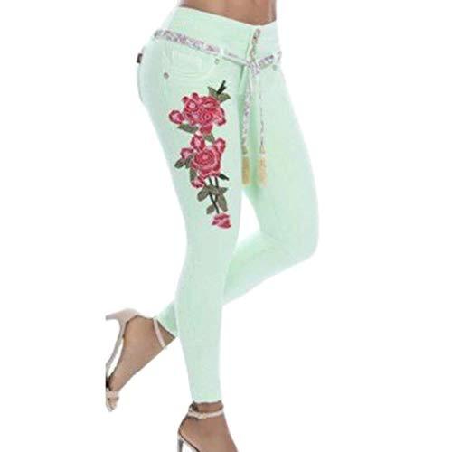 Aderenti Zip E Pantaloni Skinny Con Ricamo Matita grün Tasche Classiche Schnür Donne A Jeans Elasticizzati RxvqwnAT