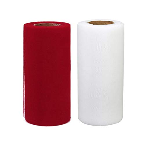 (BROSCO 2pcs Fabric Spool Roll Tulle Roll Wedding Gift Wrapping DIY Art Decorations)