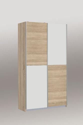 OHS722X4-Q45F Mehrzweckschrank, Schuhschrank, Stauraumschrank Ohio Eiche Sägerau Dekor / weiss ca. 120 cm breit
