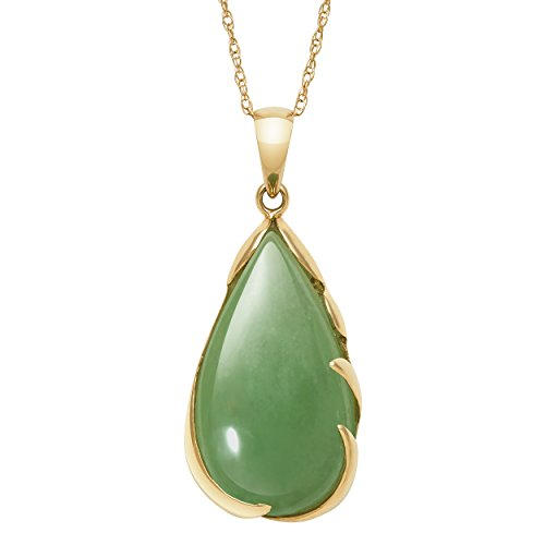 14k Yellow Gold Unisex Genuine Green Jade Teardrop Pendant Chain Necklace,18