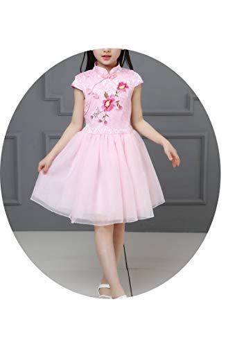 第二に自発的必須中国の伝統的な服ヴィンテージ花のボールガウンの女の子のドレスキッズの結婚式のパーティーの衣装,ピンク,ЧТ