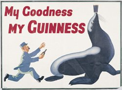 My Goodness My Guinness Seal Bartender full color window decal (Clr Seal)