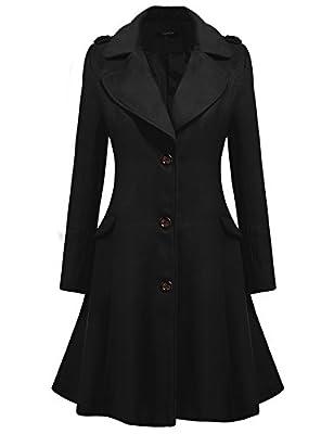 Zeagoo Women Lapel Single Breasted Wool Overcoat Long Swing Coat Jacket