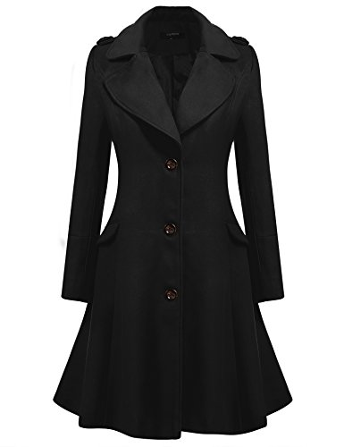 Zeagoo Women's Slim Long Turn-Down Collar Woolen Trench Coat Black Medium