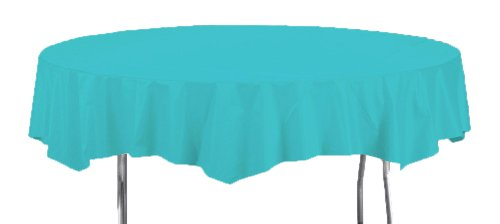 Creative Converting Octy-Round Plastic Table Cover, 82-Inch, Bermuda Blue ()