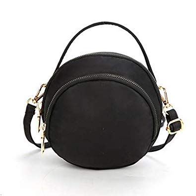 Bloomerang Women Handle Circular Bag Fashion Shoulder Bags Small Round Package Girls Crossbody Tote Nylon Messenger Bags color Black