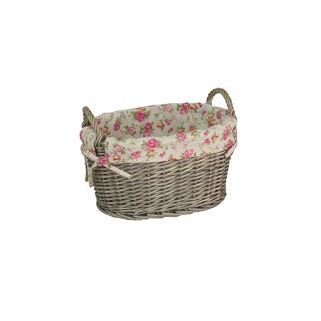 Large Garden Rose Lining Antique Wash Oval Wicker Storage Basket