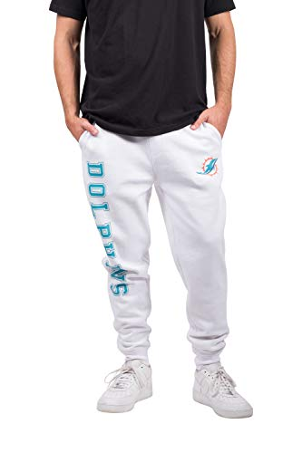 Collection Basics Team (NFL Miami Dolphins Men's Jogger Pants Active Basic Fleece Sweatpants, Medium, White)