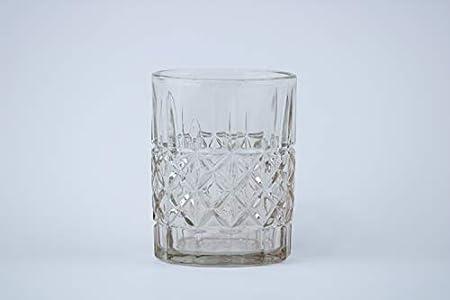 Homevibes Juego de 6 Vasos De Agua Y Whisky Tallado con Relieve, Vaso de Whisky, Vaso de Agua, Colores Varios, Diseño Retro, 8x10, Cristaleria De Calidad (Gris)