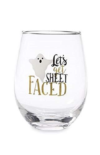 Let's Get Sheet Faced Halloween Stemless Wine Glass