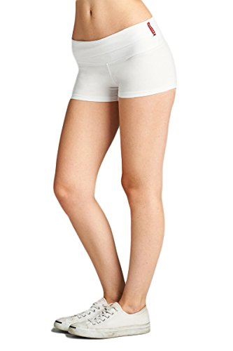 Emmalise Women's Active Yoga Shorts Low Rise Fold Over Workout Dance Pant (Small, White)