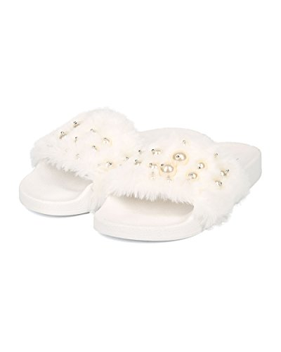 Alrisco Faux Pearl Voetbed Voor Dames Dia - Faux Fur Slip Op Sandaal - Trendy Comfortabele Fuzzy Slipper - Hb83 By Nature Breeze Collection White Mix Media