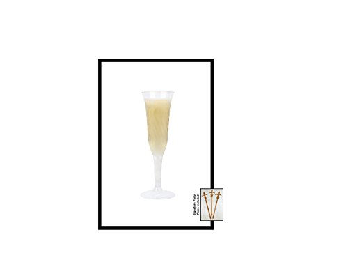 40 Count Disposable Champagne Glass 5 oz Plastic Clear Heavyweight 1-Piece Flute Upscale