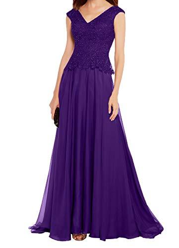 Chiffon Spitze Ballkleider Langes Damen Linie Abendkleider A Charmant Violett Dunkel Brautmutterkleider Rock Partykleider tqZOBwnnx
