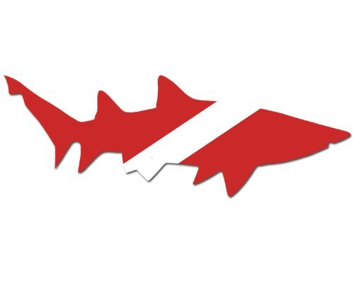 (Right Facing) Shark Shaped Scuba Dive Flag Sticker (diving decal)