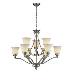 (Elk 11504/6+3 Sullivan 9-Light Chandelier with Opal White Glass Shade, 38