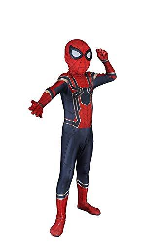 DAELI Into Spider-Verse Costume Miles Morales Costume (Iron Spider, M Suitable for 110-120 cm Kids) -
