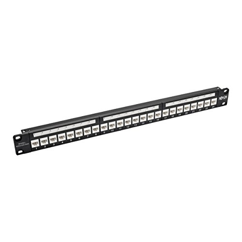 Tripp Lite 24-Port Cat6a Patch Panel w/Down-Angled Ports RJ45 Ethernet 1U Rackmount TAA (N254-024-6AD)