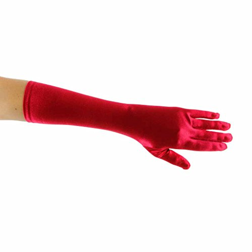 Showstopper Shiny Satin Elbow Length Gloves for Girls (Red, 13-15) ()