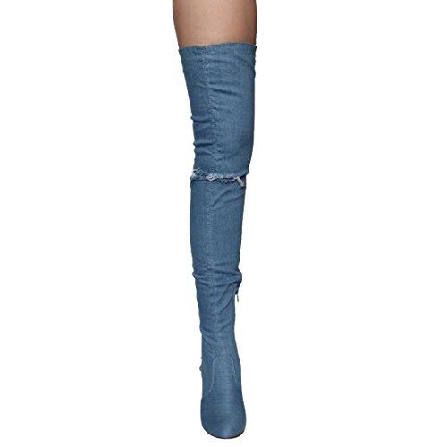 Chase & Chloe EE81 Frauen Oberschenkel hohe Schnürschuhe mit hohem Absatz Denim