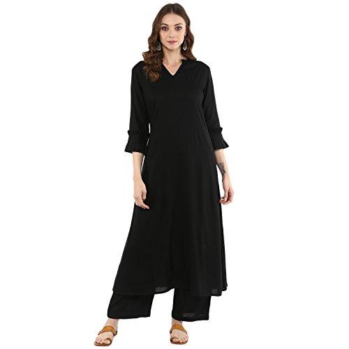 Idalia Women's Black A-line Kurta With Rayon Palazzo Pants