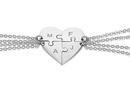MEALGUET Personalized Stainless Steel Initial Name Heart Puzzle Necklaces 4 Piece Matching Split BFF Necklace for 4 Best Friend,Silver