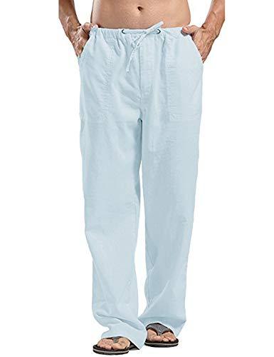 COOFANDY Mens Linen Cotton Loose Casual Lightweight Beach Straight Yoga Pants
