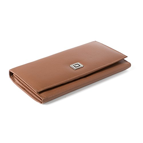 RFID Wallet Ladies Clutch - RFID Protective Ladies Wallet - RFID Secure Wallets Stop Electronic Pickpocketing (Tan)