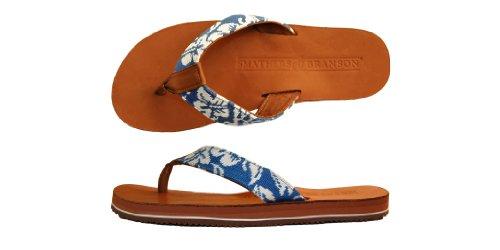 Smathers & Branson Handstiched Needlepoint Menns Flip Flop Sandaler Hibiscus