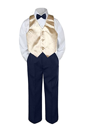 4pc Baby Toddler Kid Boys Champagne Vest Navy Blue Pants Bow Tie Suits Set S-7 -