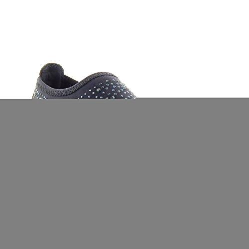 Sopily - Chaussure Mode Baskets slip-on Cheville femmes strass diamant peau de serpent Talon bloc 2 CM - Intérieur textile - Bleu