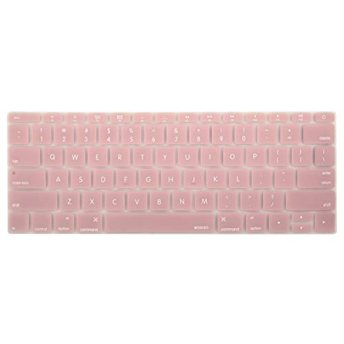 MOSISO Silicone Keyboard Cover Protective Skin Compatible MacBook Pro 13 Inch 2017 & 2016 Release A1708 Without Touch Bar, New MacBook 12 Inch A1534, Rose Quartz (Macbook Pro Keypad Skin)
