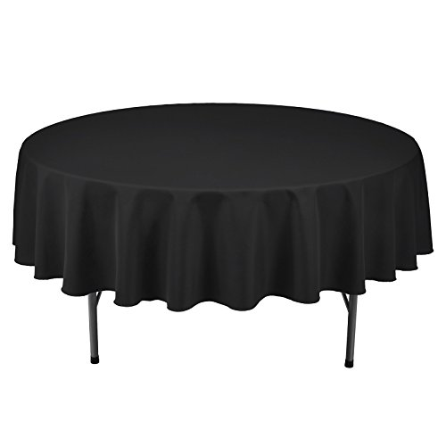 VEEYOO Round Tablecloth 100% Polyester Circular Bridal Shower Table Cloth - Solid Soft Dinner Table Cover for Wedding Party Restaurant (Black, 90 inch) ()