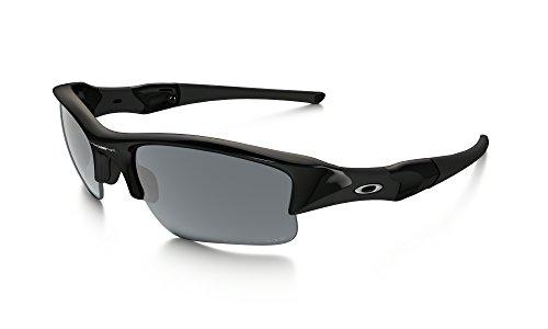 Oakley Flak Jacket XLJ Sunglasses Jet BLK / BLK Irid. Pol. & Cleaning Kit - Jet Jacket Oakley Black Flak