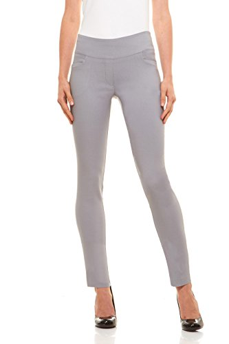 (Velucci Womens Straight Leg Dress Pants - Stretch Slim Fit Pull On Style, Light Grey-L)