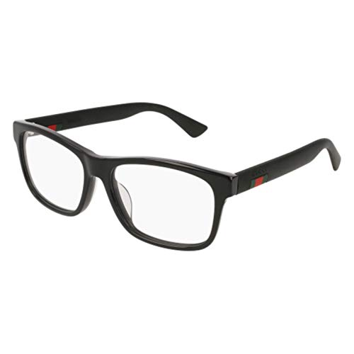 Gucci GG 0176O 001 Black Plastic Rectangle Eyeglasses 56mm ()