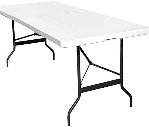 Monzana Table de Camping 76x183cm Pliante Plastique Robuste Blanche Table  de Jardin terrasse Buffet