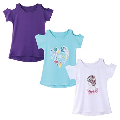 (IRELIA 3 Pack Girls Short Sleeve Tee Shirts Cold Shoulder PuBlu505Wh506)
