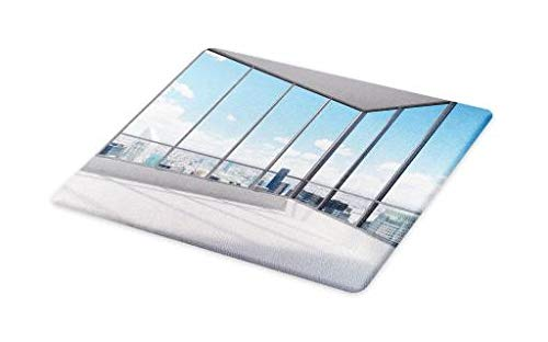 Ambesonne Modern Cutting Board, Cityscape Office with Big Windows Clear Sunny Sky View Photograph Print, Decorative Tempered Glass Cutting and Serving Board, Small Size, Sky Blue Grey and White