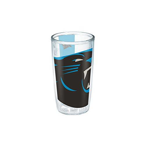 Tervis 1192946 NFL Carolina Panthers Colossal Wrap Individual Tumbler, 16 oz, Clear