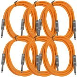 Seismic Audio SASTSX-6Orange-6PK 6-Feet TS 1/4-Inch Guitar, Instrument, or Patch Cable, Orange