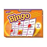 Trend Enterprises Products - Synonyms Bingo Game, 3-36 Players, 36 Cards/Mats - Sold as 1 BX - Synonyms Bingo Game offers active learning that delivers results. Players build vocabulary skills by learning and using synonyms for 37 common words. Reinforces spelling and reading skills. Traditional 5 x 5 grid format can be played six ways to meet the needs of learners of all skill levels. Ideal for large or small group use. Set includes 36 playing cards, more than 700 chips, caller's mat and cards,