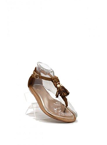 Schuhzoo - Damen Zehentrenner Sandalen mit Pailetten und Quasten Camel