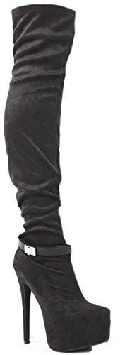 Overknee Hohe Schwarze Stiefel Ferse Damen Plattform Größe Wildleder Winter Oberschenkel Neue Womens 8 Stretch 3 R4FqFZcg