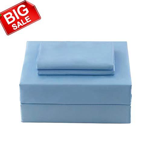 Allo Soft Microfiber Bed Set,4 Piece Sheet Set, Extra Soft, Wrinkle Resistant, Breathable - Deep Pocket Fitted Sheet (Light Blue, King)