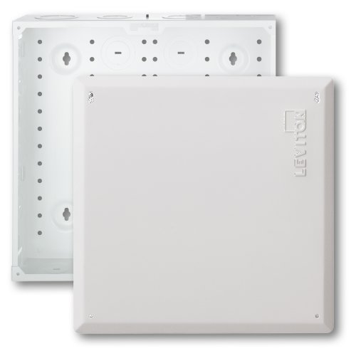 "Leviton 47605-140 14"" Structured Media Enclosure and Flush Mount Cover, Empty, White"